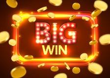 μεγάλος κερδίστε Λάμποντας αναδρομικό έμβλημα με τα πετώντας νομίσματα Έννοια ΧΑΡΤΟΠΑΙΚΤΙΚΩΝ ΛΕΣΧΏΝ απεικόνιση αποθεμάτων