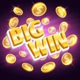 Μεγάλος κερδίστε το βραβείο χρημάτων Νίκη της διανυσματικής έννοιας παιχνιδιού με τα χρυσά νομίσματα δολαρίων ελεύθερη απεικόνιση δικαιώματος