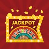 Μεγάλος κερδίστε το τζακ ποτ Κερδίστε το σημάδι Νικητής τζακ ποτ χαρτοπαικτικών λεσχών Τυχερός, επιτυχία διανυσματική απεικόνιση