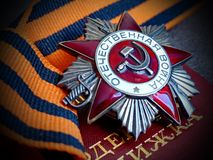 Μεγάλος πατριωτικός πόλεμος ` Orden ` στην κορδέλλα του ST George ` s Η απονομή διαταγής Βραβεία του στρατιώτη heirloom μνήμη στοκ φωτογραφία με δικαίωμα ελεύθερης χρήσης