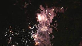Μεγάλος πολύχρωμος χαιρετισμός στον ουρανό βραδιού φιλμ μικρού μήκους