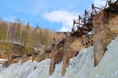 Μεγάλος ποταμός Satka κατώτατων ορίων Porogi εγκαταστάσεων υδρο παραγωγής ενέργειας στο χειμώνα στοκ εικόνα