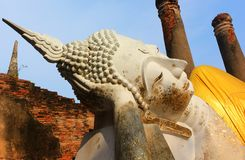 Μεγάλο άγαλμα του Βούδα στον αρχαίο ναό Wat Phra Sri Sanphet, η παλαιά Royal Palace Ayutthaya, Ταϊλάνδη στοκ εικόνες