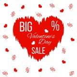 Μεγάλο έμβλημα πώλησης ημέρας βαλεντίνων ` s με την κόκκινη ζαρωμένη καρδιά ελεύθερη απεικόνιση δικαιώματος