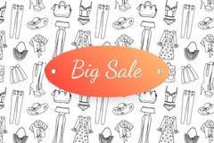 Μεγάλο έμβλημα πώλησης με συρμένα τα χέρι ενδύματα και τα εξαρτήματα μόδας στοκ εικόνες