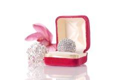 μεγάλο δαχτυλίδι διαμαντιών Στοκ Εικόνα