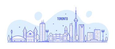 Μεγάλο διάνυσμα κτηρίων πόλεων του Καναδά οριζόντων του Τορόντου στοκ εικόνες