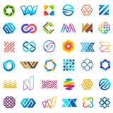 Μεγάλο διανυσματικό σύνολο σχεδίου λογότυπων Ασυνήθιστα εικονίδια για την επιχείρηση Στοκ εικόνες με δικαίωμα ελεύθερης χρήσης
