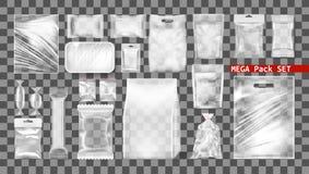 Μεγάλο διαφανές κενό άσπρο σύνολο πλαστικών πακέτων διανυσματική απεικόνιση