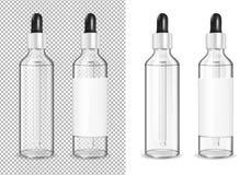 Μεγάλο διαφανές μπουκάλι γυαλιού με dropper για το καλλυντικό και την ιατρική ελεύθερη απεικόνιση δικαιώματος