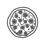Μεγάλο επίπεδο εικονίδιο περιλήψεων πιτσών στο λευκό στοκ φωτογραφίες