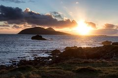 Μεγάλο ηλιοβασίλεμα νησιών Blasket στοκ εικόνα με δικαίωμα ελεύθερης χρήσης