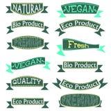 Μεγάλο καθορισμένο Eco, φυσικές αυτοκόλλητες ετικέττες και κορδέλλες, που απομονώνονται στο άσπρο υπόβαθρο διανυσματική απεικόνιση