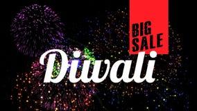 Μεγάλο κείμενο πώλησης Diwali στο φωτισμένο κλίμα απόθεμα βίντεο