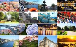 Μεγάλο κολάζ με ποικίλα τοπία και ορόσημα του Πόρτο, Πορτογαλία στοκ εικόνα