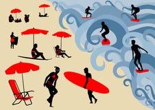 μεγάλο κύμα κυματωγών αφισών surfer απεικόνιση αποθεμάτων