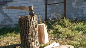 Μεγάλο να κολλήσει του χωριού τσεκουριών στο κολόβωμα και το καυσόξυλο δέντρων πλησίον φιλμ μικρού μήκους
