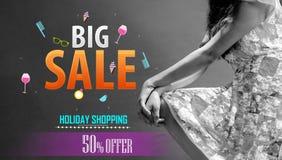 Μεγάλο πρότυπο σχεδίου αφισών επιγραφής πώλησης Μεγάλο έμβλημα πώλησης, απεικόνιση, αφίσα μάρκετινγκ, ιστοσελίδας Στοκ φωτογραφίες με δικαίωμα ελεύθερης χρήσης