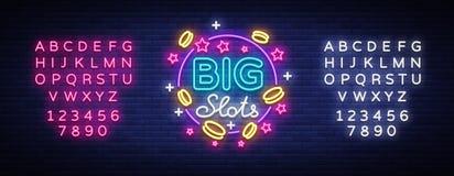 Μεγάλο σημάδι νέου αυλακώσεων Πρότυπο σχεδίου στο ύφος νέου Ελαφρύ σύμβολο λογότυπων μηχανημάτων τυχερών παιχνιδιών με κέρματα, τ απεικόνιση αποθεμάτων
