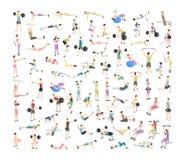 Μεγάλο σύνολο ανθρώπων που κάνουν τις ασκήσεις στη γυμναστική απεικόνιση αποθεμάτων