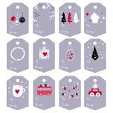 Μεγάλο σύνολο διανυσματικών ετικεττών Χριστουγέννων με τα χαριτωμένα συρμένα χέρι στοιχεία α απεικόνιση αποθεμάτων