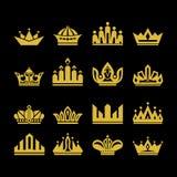 Μεγάλο σύνολο διανυσματικών κορωνών, συλλογή των στοιχείων σχεδίου για τη δημιουργία των λογότυπων απεικόνιση αποθεμάτων