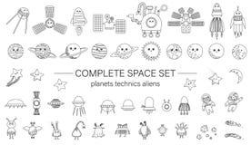 Μεγάλο σύνολο διαστημικών στοιχείων για τα παιδιά διανυσματική απεικόνιση