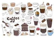 Μεγάλο σύνολο διαφορετικών καφέ και ποτών που απομονώνονται στο άσπρο υπόβαθρο Συρμένη χέρι διανυσματική συλλογή καφέ ελεύθερη απεικόνιση δικαιώματος