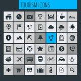 Μεγάλο σύνολο εικονιδίων ταξιδιού, τουρισμού και καιρού Στοκ εικόνες με δικαίωμα ελεύθερης χρήσης