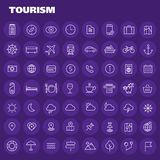 Μεγάλο σύνολο εικονιδίων τουρισμού Στοκ φωτογραφίες με δικαίωμα ελεύθερης χρήσης