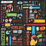 Μεγάλο σύνολο κοινωνικού υποβάθρου μέσων doodle ελεύθερη απεικόνιση δικαιώματος
