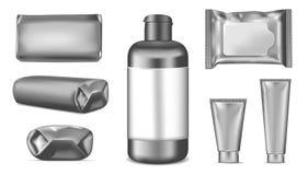Μεγάλο σύνολο Μαύρη κενή πλαστική συσκευασία για τη μόδα, καλλυντικά, χ διανυσματική απεικόνιση