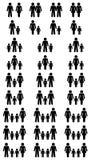 Μεγάλο σύνολο μαύρων διαφορετικών αστερισμών οικογενειακών εικονιδίων διανυσματική απεικόνιση