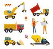 Μεγάλο σύνολο μηχανημάτων εξοπλισμού κατασκευής Ειδικές μηχανές για τη οικοδομή Forklifts, τρακτέρ, φορτηγά διανυσματική απεικόνιση