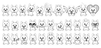 Μεγάλο σύνολο μικρών σκυλιών με τις διαφορετικές συγκινήσεις και αντικειμένων που χρωματίζονται με τις μαύρες γραμμές σε ένα άσπρ ελεύθερη απεικόνιση δικαιώματος