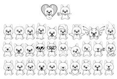 Μεγάλο σύνολο μικρών σκυλιών με τις διαφορετικές συγκινήσεις και αντικειμένων που χρωματίζονται με τις μαύρες γραμμές σε ένα άσπρ διανυσματική απεικόνιση
