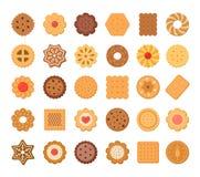 Μεγάλο σύνολο μπισκότων και μπισκότων η ανασκόπηση απομόνωσε το λευκό Στοκ Φωτογραφία