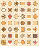 Μεγάλο σύνολο μπισκότων, μπισκότου και κροτίδας Στοκ Εικόνες