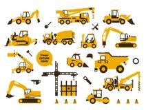 Μεγάλο σύνολο οικοδομής εικονιδίων Χτίζοντας μηχανήματα, ειδική μεταφορά εξοπλισμός βαρύς Φορτηγά, γερανοί, τρακτέρ ελεύθερη απεικόνιση δικαιώματος