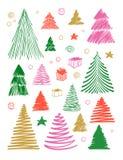 Μεγάλο σύνολο χριστουγεννιάτικου δέντρου doodle Συρμένη χέρι διανυσματική εννοιολογική χρωματισμένη γραφική απεικόνιση σκίτσων Στ ελεύθερη απεικόνιση δικαιώματος