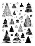 Μεγάλο σύνολο χριστουγεννιάτικου δέντρου doodle Συρμένη χέρι διανυσματική εννοιολογική γραπτή γραφική απεικόνιση σκίτσων απομονωμ διανυσματική απεικόνιση