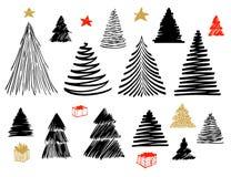 Μεγάλο σύνολο χριστουγεννιάτικου δέντρου doodle Συρμένη χέρι διανυσματική εννοιολογική γραφική απεικόνιση σκίτσων Απομονωμένα στο απεικόνιση αποθεμάτων