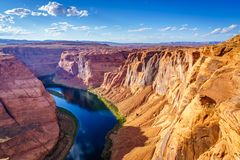 Μεγάλο φαράγγι με τον ποταμό του Κολοράντο, που βρίσκεται στη σελίδα, Αριζόνα, ΗΠΑ Στοκ φωτογραφίες με δικαίωμα ελεύθερης χρήσης