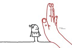 Μεγάλο χέρι με το χαρακτήρα κινουμένων σχεδίων - σημάδι στάσεων που αντιμετωπίζει μια γυναίκα απεικόνιση αποθεμάτων