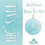 Μεγάλο Χριστουγέννων διάνυσμα προτύπων πώλησης μπλε απεικόνιση αποθεμάτων