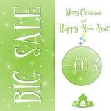 Μεγάλο Χριστουγέννων διάνυσμα προτύπων πώλησης πράσινο διανυσματική απεικόνιση
