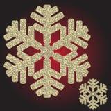 Μεγάλο χρυσό ιριδίζον snowflake Χριστουγέννων διανυσματική απεικόνιση