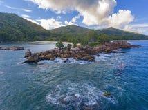Μεγάλο Anse στο νησί Praslin, Σεϋχέλλες Στοκ Φωτογραφίες