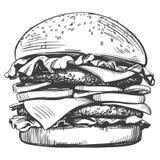 Μεγάλο burger, αναδρομικό ύφος σκίτσων απεικόνισης χάμπουργκερ συρμένο χέρι διανυσματικό απεικόνιση αποθεμάτων