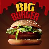 Μεγάλο burger εύγευστο άχρηστο φαγητό Διανυσματική απεικόνιση